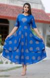 Blue color rayon printed kurtis