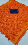 Orange color net embroidered saree