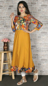 Yellow color crepe printed kurtis