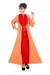 Red color rayon Embroidery Work kurtis