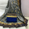 Gray color Two Tone Silk Embroidery saree
