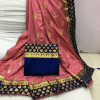 Pitch color Two Tone Silk Embroidery saree