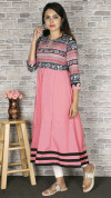 Peach color crepe printed kurtis