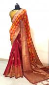 Orange color  banarasi  silk woven design saree