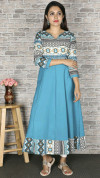 Sky blue color crepe printed kurtis