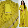 yellow color  Two Tone Moss Chiffon saree