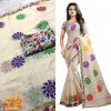 White color Chanderi Cotton Embroidery saree