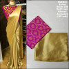 Pink color satin silk Solid jaquard saree
