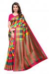 Multi color art silk printed saree