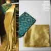 Rama green color satin silk Solid jaquard work saree