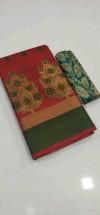 Red color Banarasi Cotton Jacquard work saree