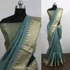 Gray color Cotton Silk Printed saree