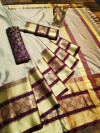 Chiku color cotton silk Woven Design saree