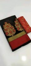 Black color Banarasi Cotton Jacquard work saree