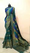 Rama green color Banarasi Silk  Zari Work saree