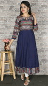 Blue color crepe printed kurtis