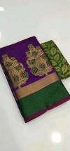 Purple color Banarasi Cotton Jacquard work saree