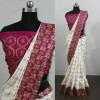 pink color embroidered sana silk panetar saree