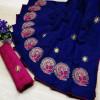 Blue color sana silk Embroidered saree