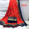 Red color Two Tone Silk Embroidery saree