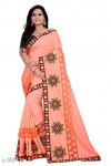Peach color Vichitra Silk  Embroidery saree