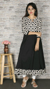 Black color crepe printed kurtis
