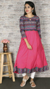 Pink color crepe printed kurtis