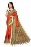 Red color silk blend printed saree