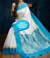 sky blue color Banarasi Kanjivaram Silk saree