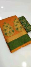 Orange color Banarasi Cotton Jacquard work saree
