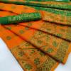Orange color  Banarasi Jacquard work saree