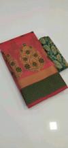 Pitch color Banarasi Cotton Jacquard work saree