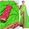 Green color sana silk lace work saree