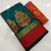 Rama green color Banarasi Cotton Jacquard work saree