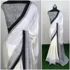 White color silk crepe printed saree