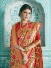 Red color silk printed saree