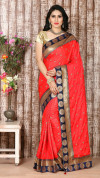 Red color sana silk embroidered saree