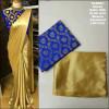 Blue color satin silk Solid jaquard saree