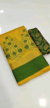 Yellow color Banarasi Cotton Jacquard work saree
