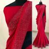 Red color Vichitra Silk Diamond Work saree