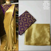 Purple color satin silk Solid jaquard saree