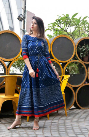 Blue Cotton Printed kurtis