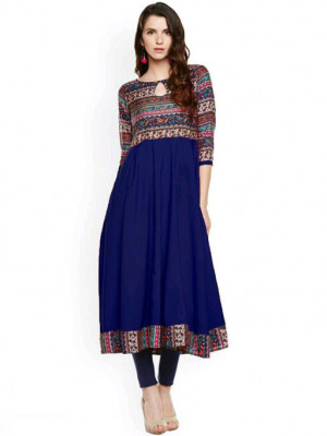 Blue color American Crepe  Printed kurtis