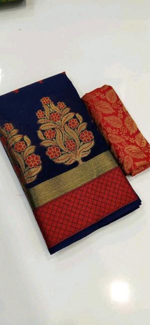 Blue color Banarasi Cotton Jacquard work saree