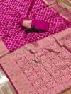 Pink color soft banarasi silk saree with zari weaving work