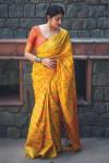 Yellow color banarasi silk weaving Patola saree
