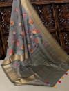 Gray color Pure Linen Digital printed saree