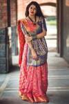 Gajari color banarasi silk weaving Patola saree