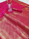 Lichi silk saree with gold zari weaving work
