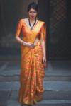 Orange color banarasi silk weaving Patola saree